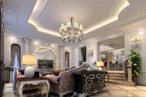 别墅型欧式精致典雅室内客厅吊顶装修效果图