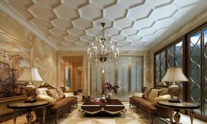 2016年高贵典雅别墅型欧式风格精致客厅背景墙装修效果图