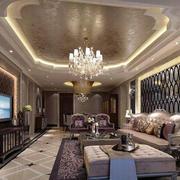 法式风格别墅型精致典雅客厅吊顶装修效果图