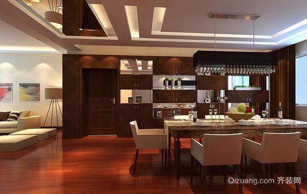 别墅型欧式餐厅背景墙设计装修效果图实例