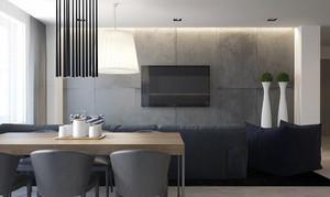 80平米简约时尚经典黑白灰公寓装修效果图赏析