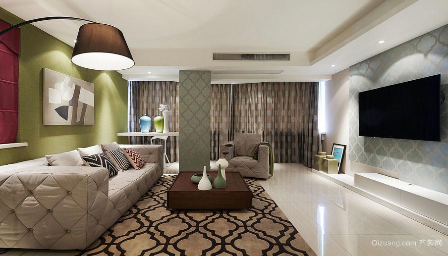 大户型都市清新风格自然简约客厅电视背景墙装修效果图