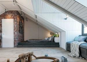 70平米简约时尚自然斜顶阁楼卧室装修效果图大全