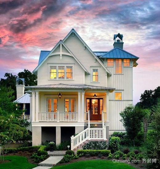 地中海风格三层自建别墅设计装修效果图