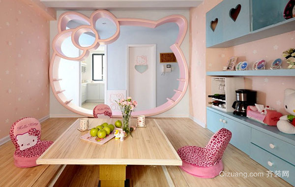 可爱粉色梦幻主题女生儿童房整体装修效果图大全