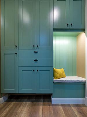 80平米都市小清新薄荷绿进门玄关橱柜设计装修效果图