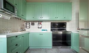 2016年新款大户型简欧风格自然薄荷绿厨房装修效果图