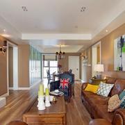 2016年后现代风格三居室室内客厅背景墙装修效果图