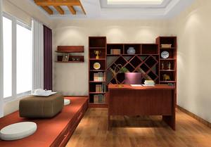 新中式风格三居室室内书房榻榻米装修效果图