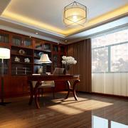 新中式风格别墅室内精致典雅书房装修效果图