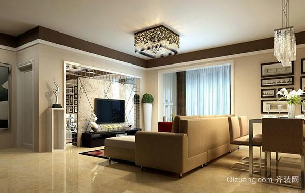 现代简约风格三居室室内客厅电视背景墙装修效果图