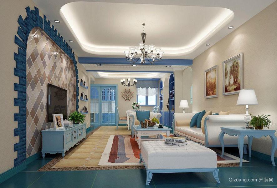 地中海风格大户型自然客厅装修效果图