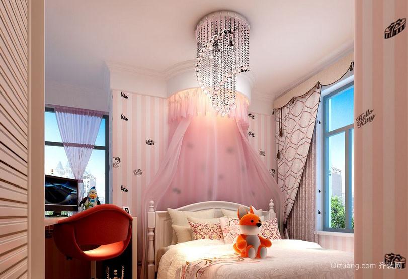 简欧风格简约粉色梦幻时尚女生儿童房装修效果图