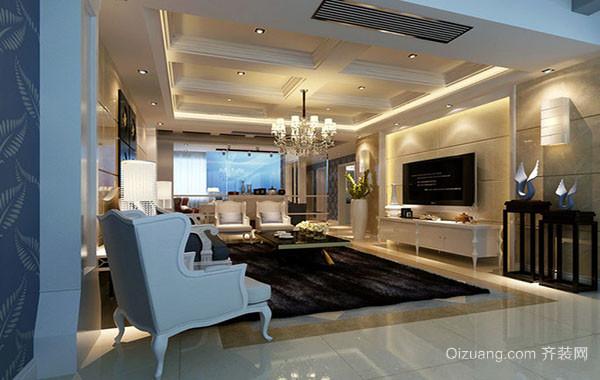 欧式风格别墅型室内客厅精美吊顶装修效果图赏析