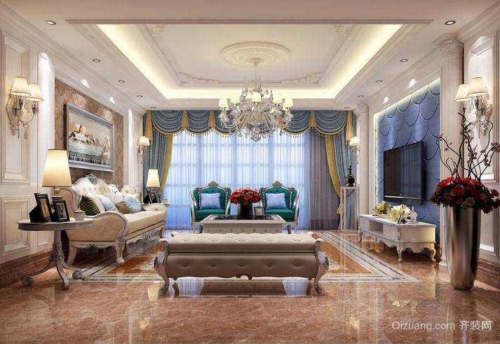 现代欧式风格简约典雅室内客厅窗帘装修效果图