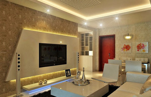 现代都市简约大户型客厅电视背景墙装修效果图赏析