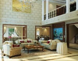 90平米大户型欧式风格客厅吊顶装修效果图欣赏
