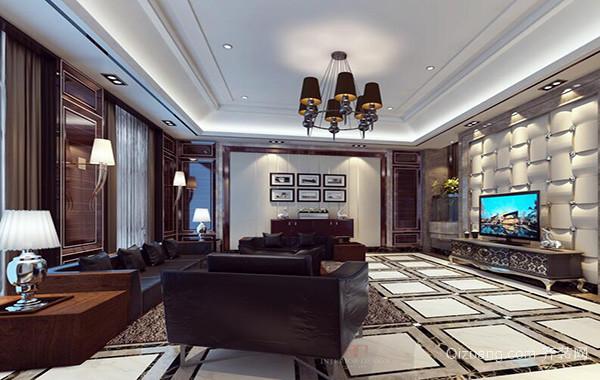 2016别墅欧式客厅背景墙室内设计装修效果图