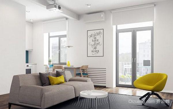 北欧风格简约自然舒适温馨70平米公寓装修效果图