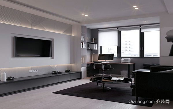 现代简约风格黑色空间时尚创意单身公寓装修效果图