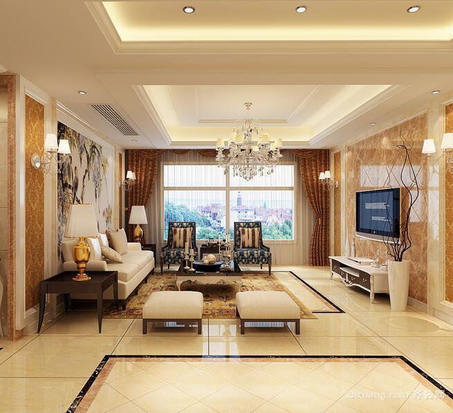 大户型精美欧式客厅吊顶设计装修效果图