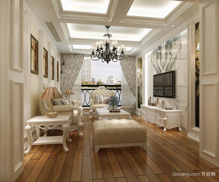 简欧风格别墅客厅装修效果图实例