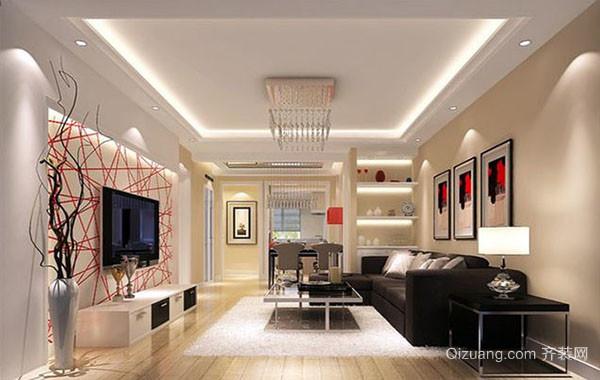 2016年大户型现代简约风格时尚精致客厅吊顶装修效果图