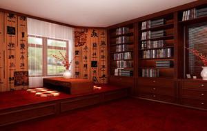 120平米中式风格精致典雅室内书房装修效果图