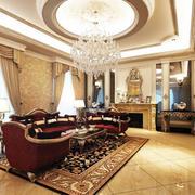 别墅型精致典雅欧式客厅吊顶装修效果图