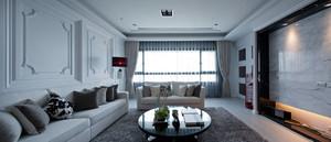 120平米北欧风格自然简约客厅窗帘装修效果图