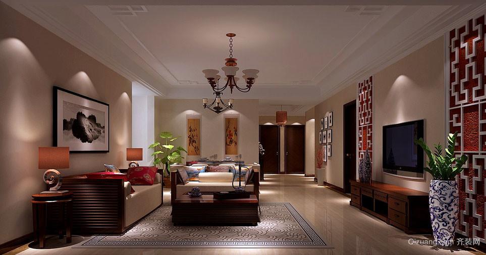 110平米新中式风格精致典雅客厅电视背景墙装修效果图