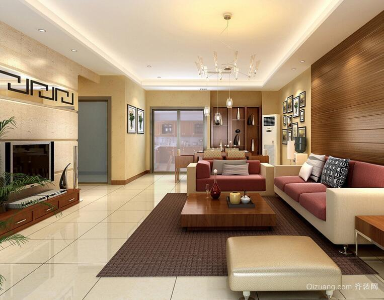 2016大户型现代客厅电视背景墙装修效果图欣赏