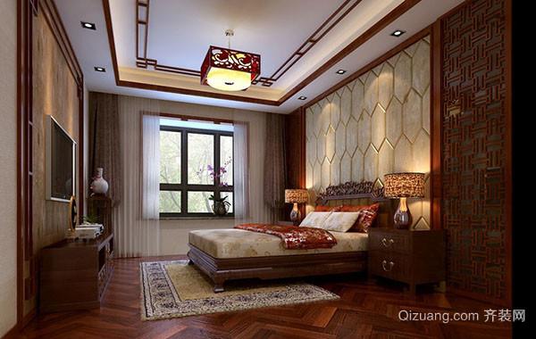 现代中式风格精致室内卧室吊顶装修效果图赏析