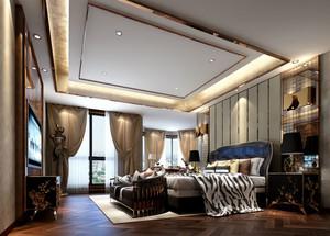 精致别墅法式风格高贵典雅室内卧室背景墙装修效果图
