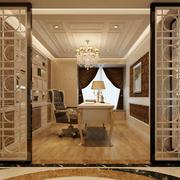 别墅型欧式风格精致典雅书房隔断装修效果图