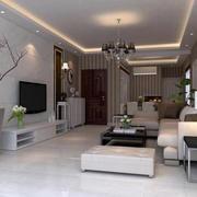 现代简约风格80平米精致客厅电视背景墙装修效果图