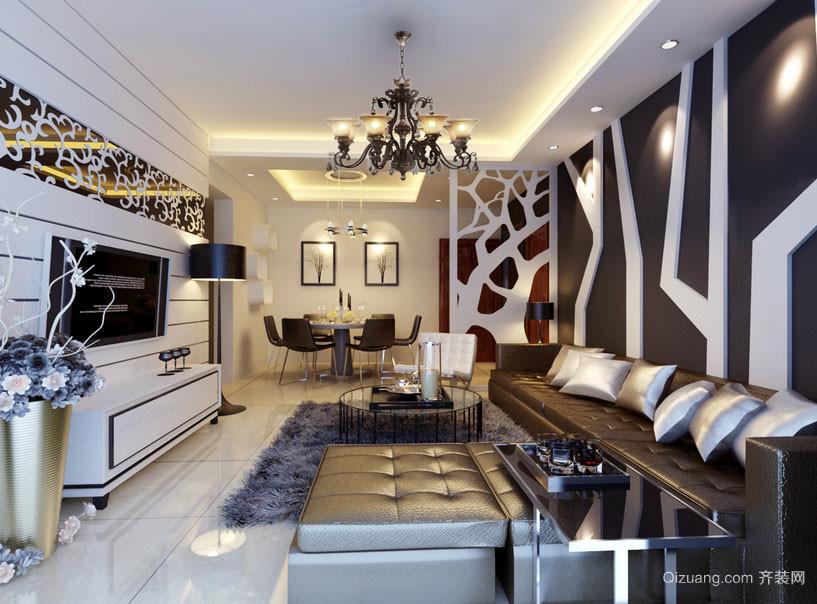 110平米后现代风格简约时尚创意客厅电视背景墙装修效果图