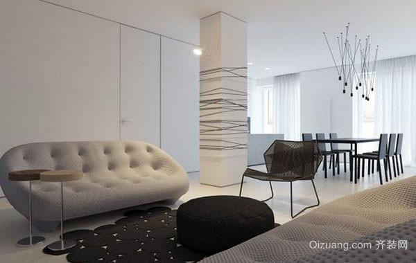 90平米黑白混搭简约时尚风格公寓装修效果图赏析