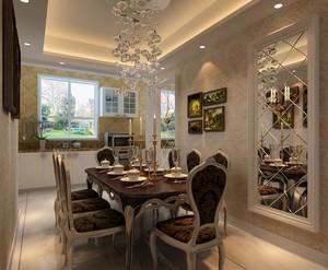 都市唯美别墅餐厅背景墙装修效果图实例
