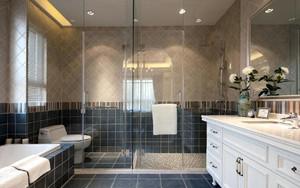 110平米现代简约风格室内卫生间地板砖装修效果图