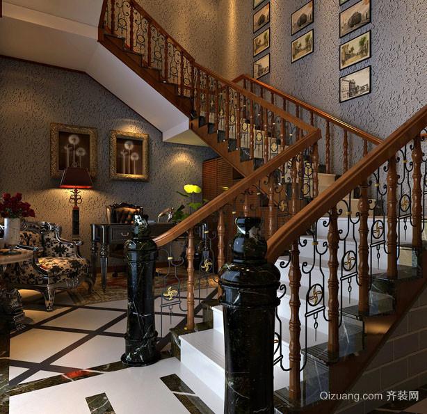 经典欧式风格精致别墅楼梯装修效果图