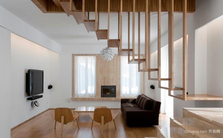 北欧风格复式小楼简约自然舒适室内楼梯装修效果图