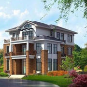 现代乡村自建三层别墅设计装修效果图