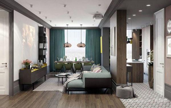 90平米两室两厅现代家居明亮时尚简约温馨室内公寓装修效果图