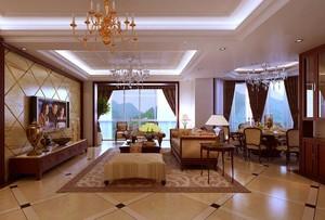 2016欧式大户型客厅室内吊顶设计装修效果图