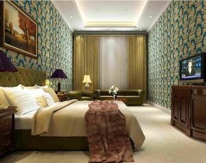 三居室经典的现代卧室背景墙装修效果图