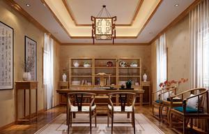 2016年新中式大户型精致室内书房博古架装修效果图