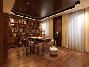 120平米三居室新中式风格精致典雅书房装修效果图