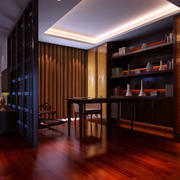 120平米大户型中式风格精致典雅书房隔断装修效果图