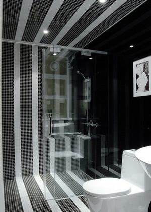 小户型现代简约黑白混搭卫生间装修效果图